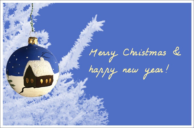 blue merry christmas and happy new year greeting card